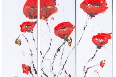 Abstract Red poppies  on canvas 3-panel canvas acrylic