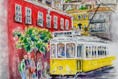 Lisbon Tram in Watercolour on Arches 300 g  31cm x 41  (12 inches by 16 inches) by Lorna Markillie