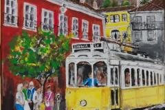 Lisbon Tram in Acrylic on 30 x 25 cm canvas