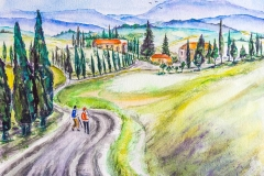 Watercolour painting on 300 poundArches paper, 12  x 16 inches  by Lorna markillie Hiking on the Via Francigena in Tuscany Italy.