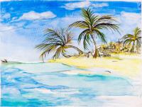 Palms, sand and sea
