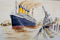 A painting of RMS Titanic  leaving Southampton by Lorna Markillie