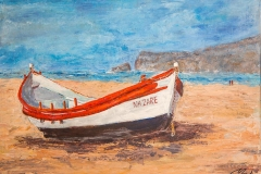 Traditional fishing boat on Nazare Beach Portugal 50 cm x 50 cm acrylic painting by Lorna Markillie 2019