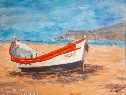 Traditional fishing boat on Nazare Beach Portugal 50 cm x 50 cm acrylic painting by Lorna Markillie
