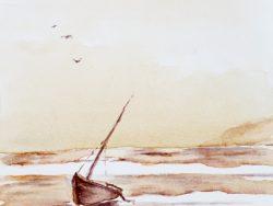 Lone boat in Lagoon