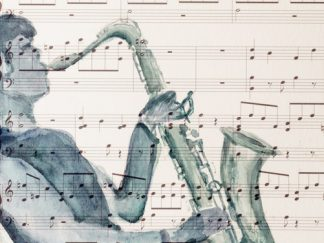 Saxophone player on music background Watercolour 27.6 x 21.1 cm
