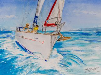Sun and sail - watercolour with crew on foredeck of yacht