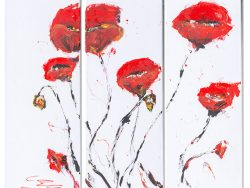 Abstract Red poppies on triptych canvas acrylic